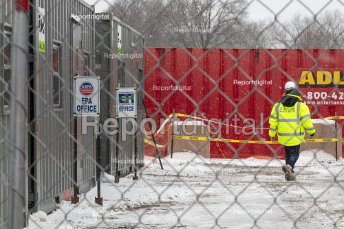 Madison Heights, Michigan USA, Environmental Protection Agency Superfund cleanup site where the owner of Electro-Plating Services dumped toxic chemicals. A green ooze containing hexavalent chromium flowing onto a nearby freeway alerted environmental authorities to the continuing problem - Jim West - 2020-01-19