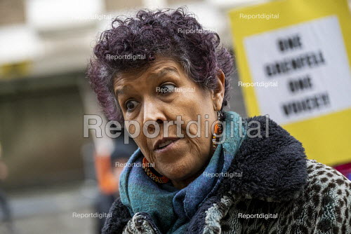 Moyra Samuels, Justice4Grenfell, Grenfell Fire Inquiry phase two, day one, Kensington residents campaigning for Justice, Paddington, London - Jess Hurd - 2020-01-27
