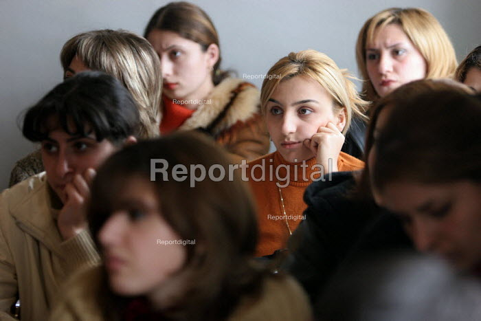 Students listen during a lecture at the Artsakh State University, Stepanakert, Nagorno Karabakh, Azerbaidjan, March 2005. - Boris Heger - 2005-03-03
