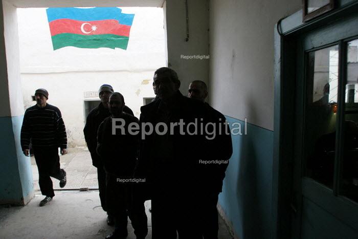 Prisoners taking a break in a special institution for detainees having tuberculosis, Baku, Azerbaidjan, March 2005. This disease is widespread in jails of the Caucasus region. - Boris Heger - 2005-03-14