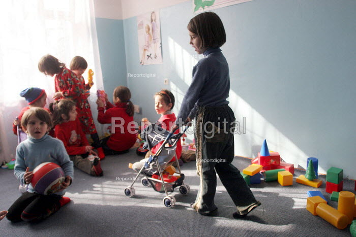 Children have recently returned to school, Grozny, Chechnya, March 2005. The school has had to adapt its programs as most children have psychological problems due the things they saw during the war. Some of them dont even talk. - Boris Heger - 2005-03-21