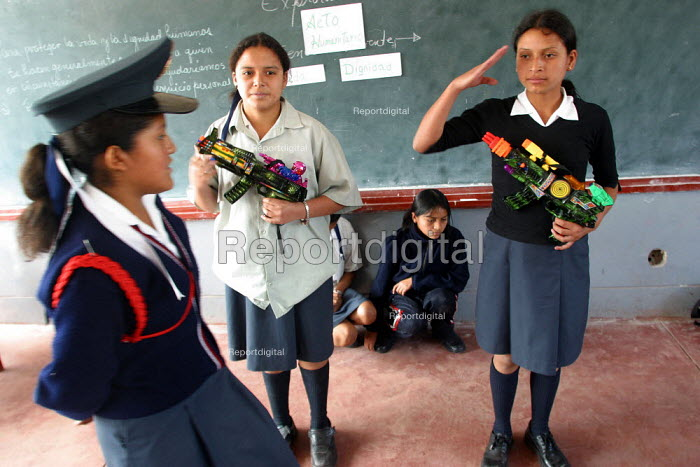 Theatre piece to promote the rights of children in conflicts and violent situations is being played by schoolchildren, Alberto Fujimori's girl college, Lima, Peru, September 2004. The college is part of a program to make children aware of their rights. - Boris Heger - 2004-08-29