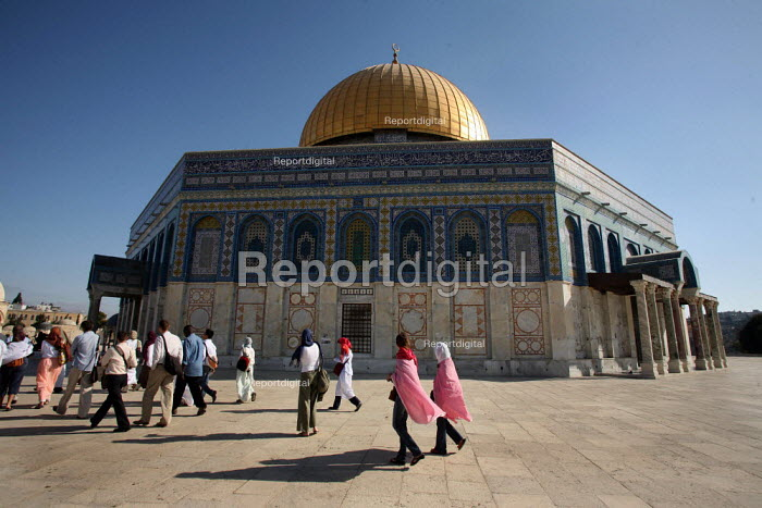 View of the Dome of the Rock, near to the Al-Aqsa Mosque, East Jerusalem, September 2007. The sanctuary sheltering a stone believed to be the place from which the Prophet Muhammad ascended into heaven during his Night Journey to heaven, is the third most important sacred places to Muslims after Mecca and Medina. - Boris Heger - 2007-09-11