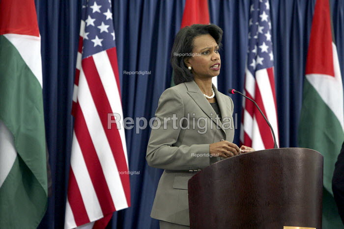Palestinian Authority president Mahmud Abbas and Condolezza Rice US Secretary of State speaking at the Authority Headquarters, Muqata Presidential Palace, Ramallah, Occupied West Bank, Israel, 2007 - Morris Bernard - 2007-10-15