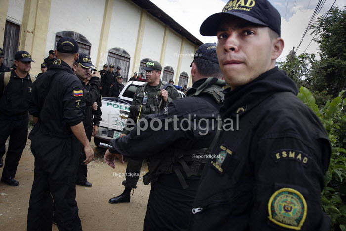 Mobile Anti-Disturbance Squad (ESMAD). Armed police prepare to close illegal gold mines by force. Police operation to close mines operated by small traditional miners. The Colombian government says it wants to control illegal mining and is giving licenses to big multinationals. Colombia is poised this year to pass from rank 16 to 7 in the worlds biggest gold exporters list and there is huge interest among foreign companies, as extractions cost are still relatively low. - Boris Heger - 2012-03-11