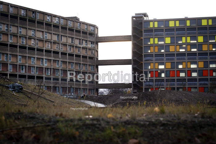 Park Hill flats in Sheffield, the newly refurbished section makes up 1/4 (right) where as the 2/4s of it is abandoned and the last 1/4 is social housing. - Connor Matheson - 2012-11-06