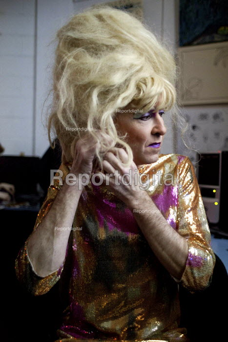 A cross dresser, Tia Anna, gets ready for his performance at Access space charity, Sheffield centre. - Connor Matheson - 2012-12-19