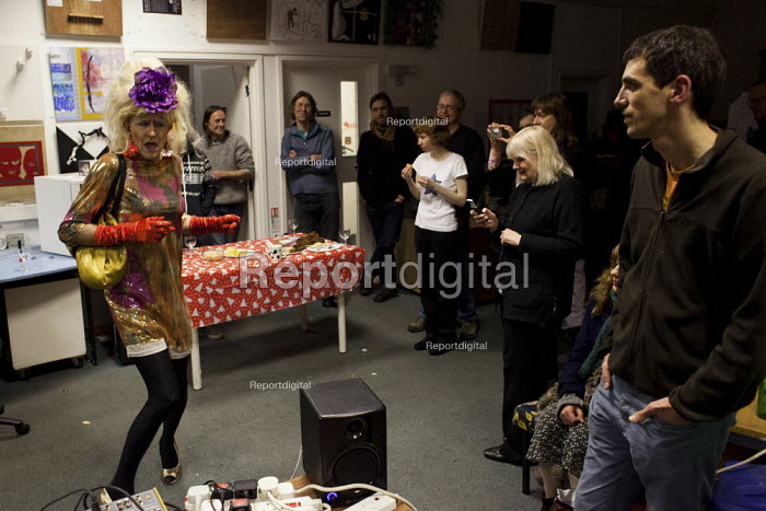 A cross dresser, Tia Anna, performs at Access space charity, Sheffield centre. - Connor Matheson - 2012-12-19