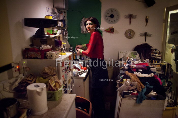 Dan, a cross dresser, in his flat. Park Hill estate, sheffield. - Connor Matheson - 2013-01-09