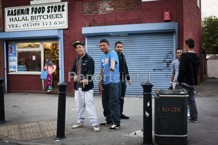 Youth on the streets of Eastwood, Rotherham. Halal Butchers shop. - Connor Matheson - 2014-04-26