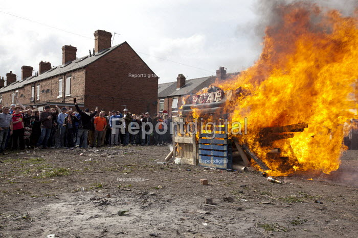A bonfire containing a Margaret Thatcher effigy and the word Scab on the day of her funeral, Goldthorpe, Barnsley. - Connor Matheson - 2013-04-17