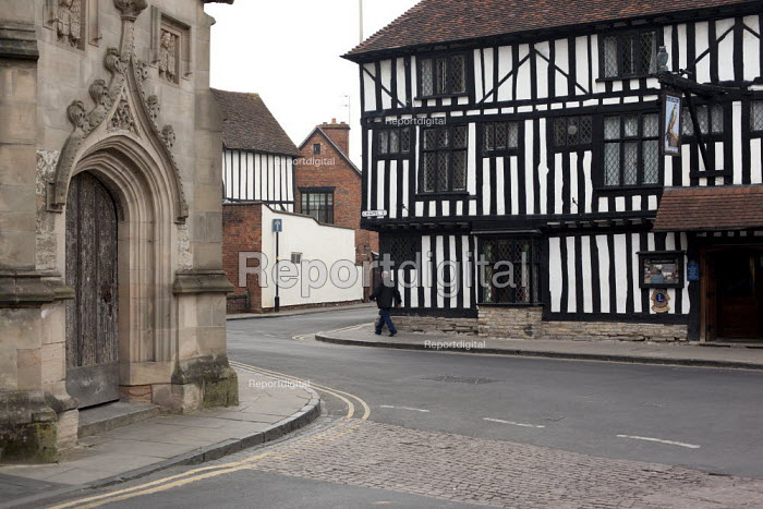 The entrance to The Guild Chapel and The Falcon Hotel, 16th century building featuring decorative half-timbering. Stratford-upon-Avon, Warwickshire - Connor Matheson - 2013-04-09