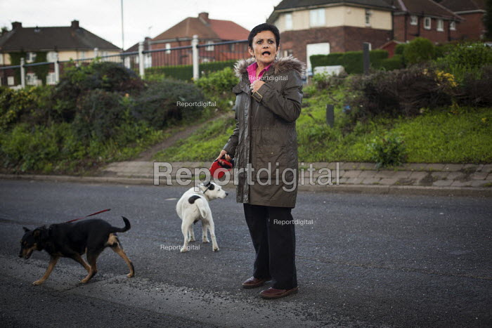 A woman with her dog, Thyberg, Rotherham. - Connor Matheson - 2014-04-26