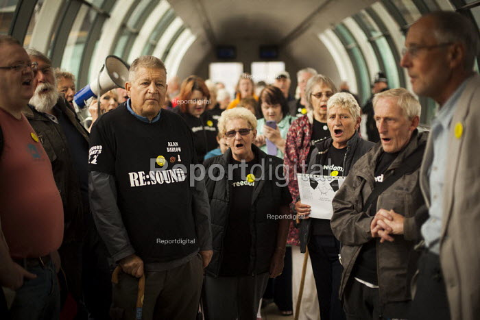 Barnsley Freedom Riders rally in protest for free rail travel for the elderly. Barnsley Interchange, South Yorkshire. - Connor Matheson - 2014-08-21