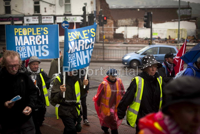 The People's March for the NHS following the route of the 1936 Jarrow march. Hillsborough, Sheffield, South Yorkshire. - Connor Matheson - 2014-08-25