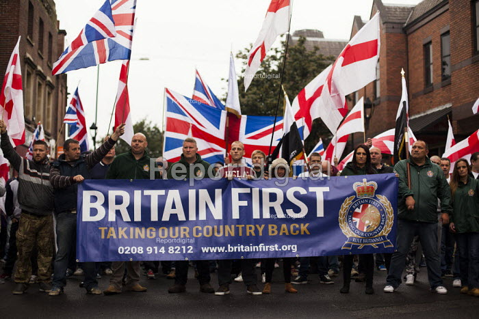 Far right group Britain First staging a demonstration in Rotherham Centre, South Yorkshire. - Connor Matheson - 2014-09-06