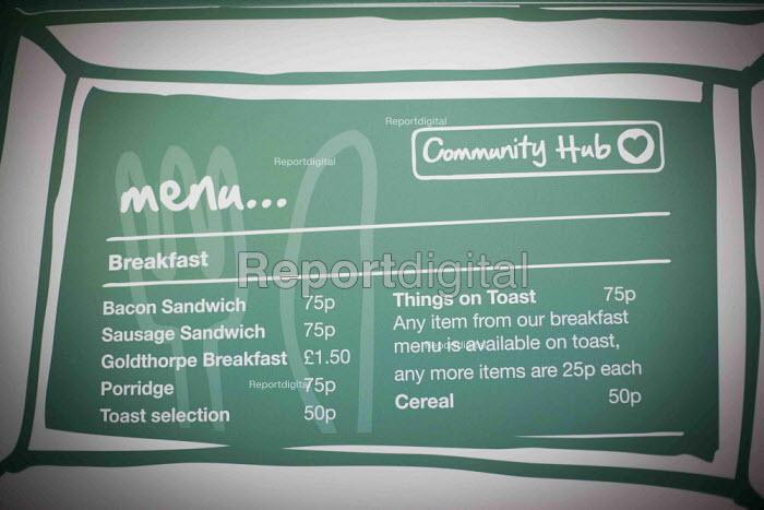 A menu at the community shop cafe. The Community Shop, Goldthorpe, South Yorkshire. - Connor Matheson - 2014-12-16