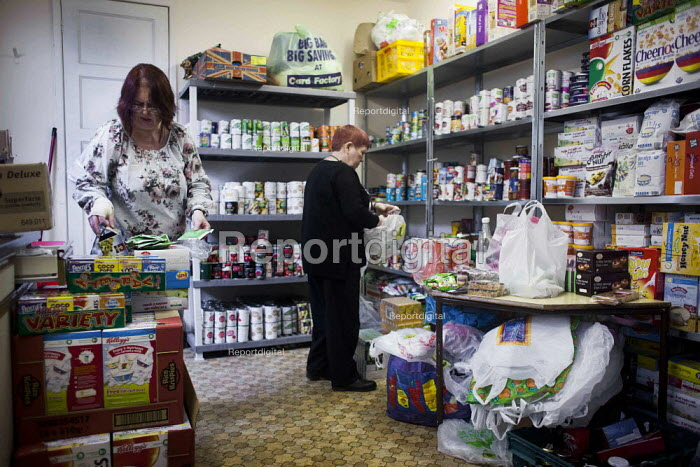 Volunteers sorting donated food. Gateway food bank, Barnsley Centre. - Connor Matheson - 2015-01-29