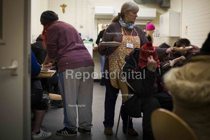 Breakfast being handed out, in total 96 breakfasts were made on a monday morning between 10 and 12. The Drop in Kitchen, Barnsley Centre. - Connor Matheson - 2015-02-02
