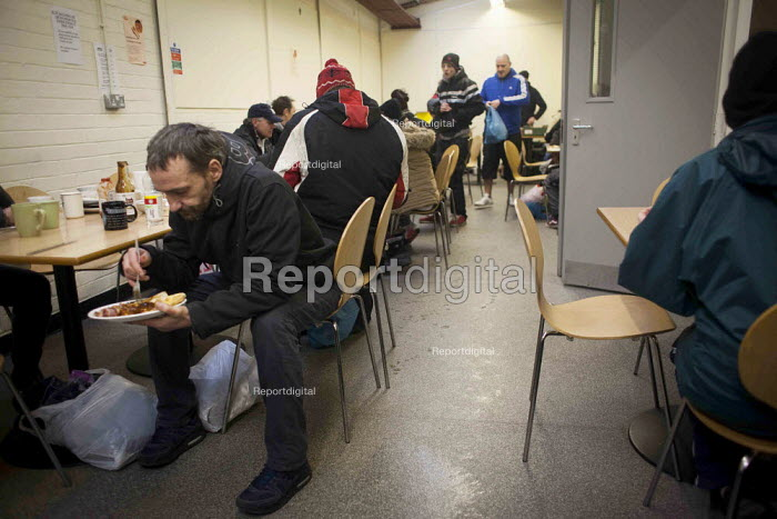 Clients eating donated breakfast. The Drop in Kitchen, Barnsley Centre. - Connor Matheson - 2015-02-02