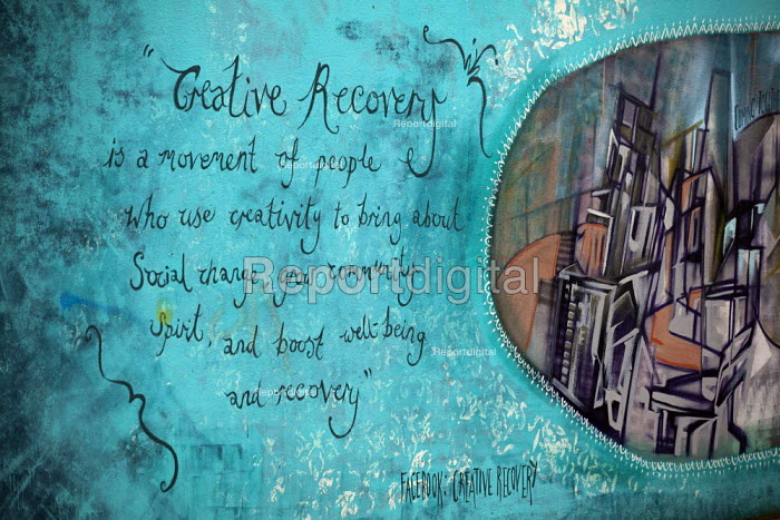 Creative recovery mural. Barnsley Town Centre. Creative Recovery is a movement of people who use creativity to bring about social change, inspire community spirit and boost well-being and Recovery. - Connor Matheson - 2015-02-16