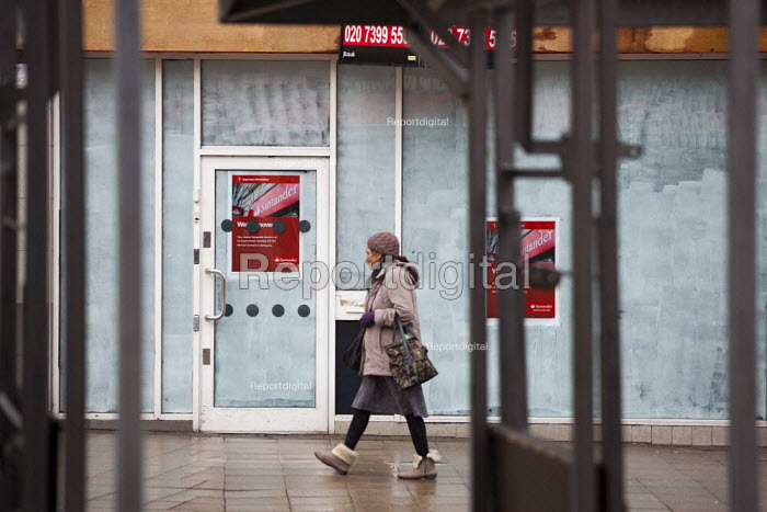 Pedestrians walking through Barnsley Centre past a closed bank. - Connor Matheson - 2015-02-16