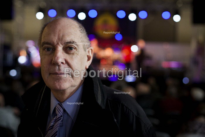 An ex county Durham miner posing for a portrait during Banners Held High, an event that marks the end of the 1984-1985 miners strike. Unity Centre, Wakefield, South Yorkshire. - Connor Matheson - 2015-03-07