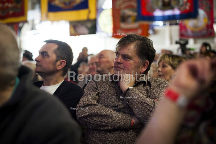 People watching Dennis Skinner speak during Banners Held High, an event that marks the end of the 1984-1985 miners strike. Unity Centre, Wakefield, South Yorkshire. - Connor Matheson - 2015-03-07