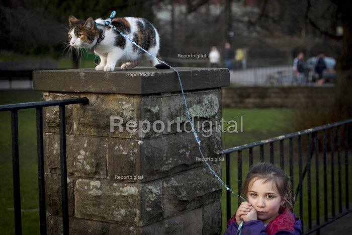 A young girl walking her cat on a leed. Endcliffe park Sheffield, South Yorkshire. - Connor Matheson - 2015-03-22