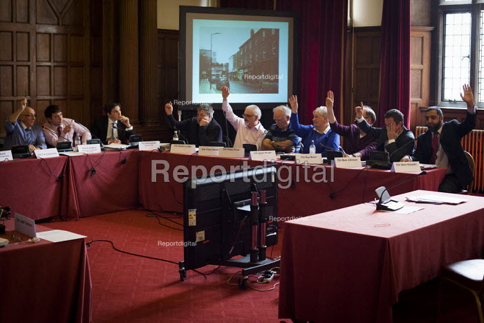 Sheffield council planning committee voting on whether a row of shops on Devonshire Street should be demolished and a new development by CODA should take place. The development was approved. Sheffield, South Yorkshire - Connor Matheson - 2015-03-24