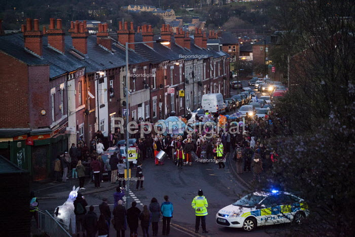 Sharrow Lantern Festival, a carnival where Local people make and parade lanterns in the streets, Sharrow, Sheffield, South Yorkshire. - Connor Matheson - 2015-04-12
