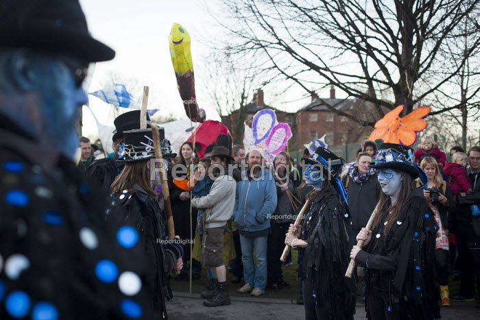 Boggart Breakfast, traditional but mixed Morris dancers perform. Sharrow Lantern Festival, a carnival where Local people make and parade lanterns in the streets, Sharrow, Sheffield, South Yorkshire. - Connor Matheson - 2015-04-12