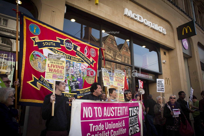 Protest at McDonald's, Sheffield, South Yorkshire. Global day of action for fast food workers rights and fair pay, Youth Fight for Jobs campaign and BFAWU - Connor Matheson - 2015-04-18
