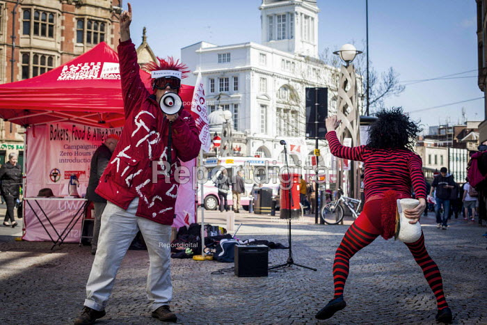 Punk protesters mocking Conservative Party. Protest at McDonald's, Sheffield, South Yorkshire. Global day of action for fast food workers rights and fair pay, Youth Fight for Jobs campaign and BFAWU - Connor Matheson - 2015-04-18