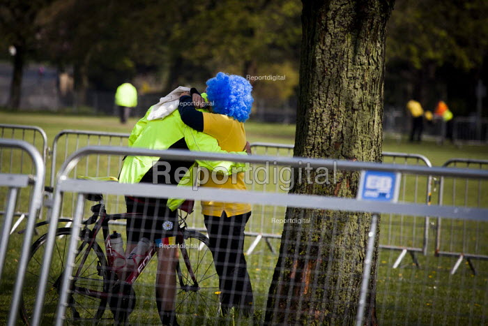 Hugging after completeing the Tour De Yorkshire Route for Childrens hospital Charity. Roundhay Park, Leeds, West Yorkshire - Connor Matheson - 2015-05-03