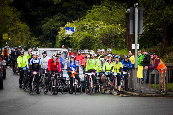 Members of the public take part in a charity race covering the same route as the Tour De Yorkshire for the Childrens Hospital Charity. Around 4000 people completed the race. Roundhay Park, Leeds, West Yorkshire - Connor Matheson - 2015-05-03