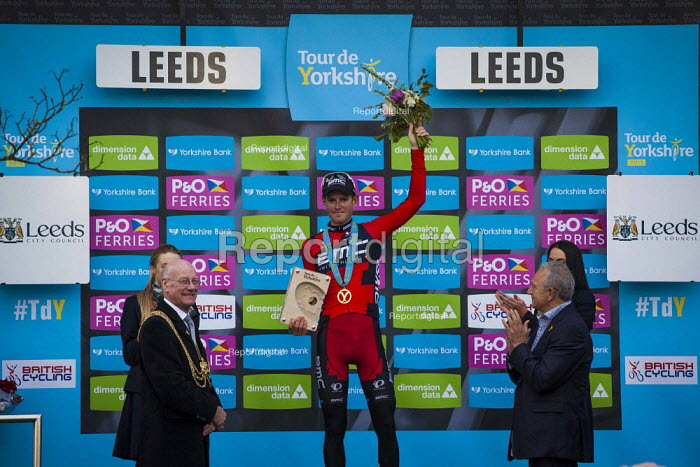 Stage winner Ben Herman cheering on the podium at the Tour De Yorkshire. Roundhay Park, Leeds, West Yorkshire - Connor Matheson - 2015-05-03