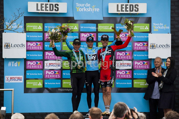 Norwegian Lars Nordhauge from team Sky on the podium after being announced the first winner of the Tour De Yorkshire. He is joined by BMC's Ben Herman. Roundhay Park, Leeds, West Yorkshire - Connor Matheson - 2015-05-03