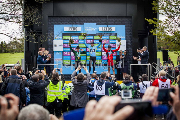 Norwegian Lars Nordhauge from team Sky on the podium after being announced the first winner of the Tour De Yorkshire. He is joined by stage winner BMC's Ben Herman. Roundhay Park, Leeds, West Yorkshire - Connor Matheson - 2015-05-03