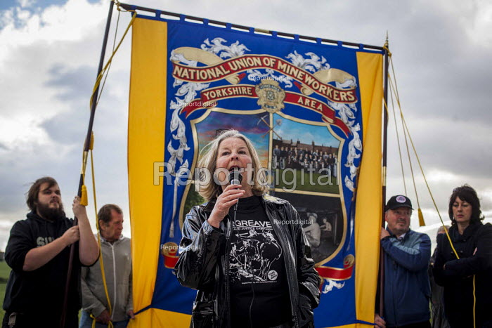 Barbara Jackson OTJC speaking to Campaigners and supporters rally to mark the 31st anniversary of the battle of Orgreave which took place during the miners strike. Activists and victims are demanding a public enquiry into the abuse of police powers that took place. The IPCC recently said they would not be investigating the battle of Orgreave. Orgreave, Sheffield. - Connor Matheson - 2015-06-18
