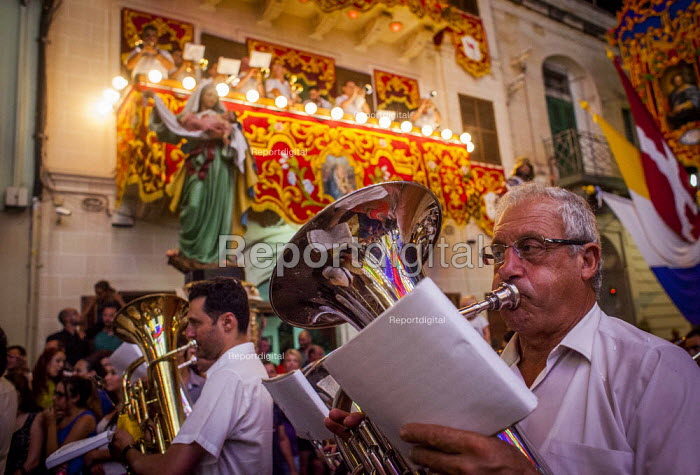 The Feast of Our Lady of Sorrows St. Pauls Bay Malta brass band performing - Connor Matheson - 2015-07-24