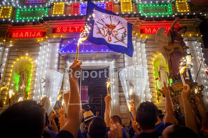 The Feast of Our Lady of Sorrows St. Pauls Bay Malta. Procession to the church holding up sparklers - Connor Matheson - 2015-07-24