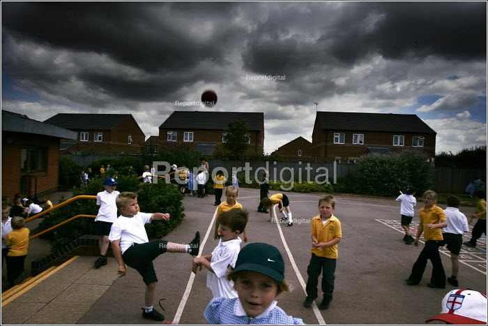 Gateford Park Primary School in Worksop where 295 children share a cramped yard and have to stagger playtimes. The adjoining land has recently been sold to Barrat homes for redevelopment. - Christopher Thomond - 2005-07-15