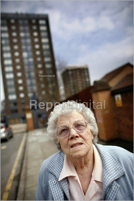 Dolly Lloyd who is concerned about the changing demographics of the inner city Vauxhall area of Liverpool as her bungalow is rapidly surrounded by new apartment blocks for students. - Christopher Thomond - 2006-04-21