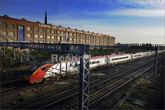 Trains running on the West Coast main line through Stockport. Services were severely disrupted on the first day of operations after completion of a �9bn upgrade - Christopher Thomond - 2008-12-15