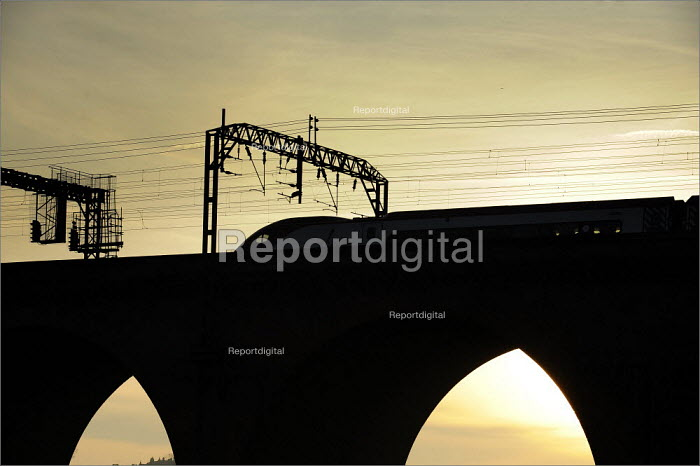 Trains running on the West Coast main line through Stockport. Services were severely disrupted on the first day of operations after completion of a �9bn upgrade. - Christopher Thomond - 2008-12-15
