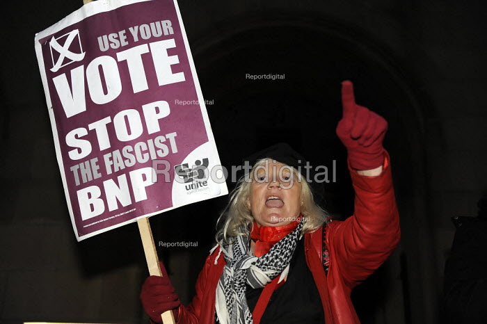 European elections voting results at Manchester Town Hall. Anti BNP protestor outside the count. - Christopher Thomond - 2009-06-07
