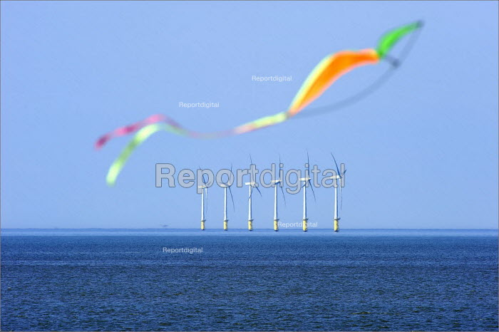 A kite flying infront of North Hoyle offshore windfarm near Prestatyn, in North Wales. - Christopher Thomond - 2009-06-24