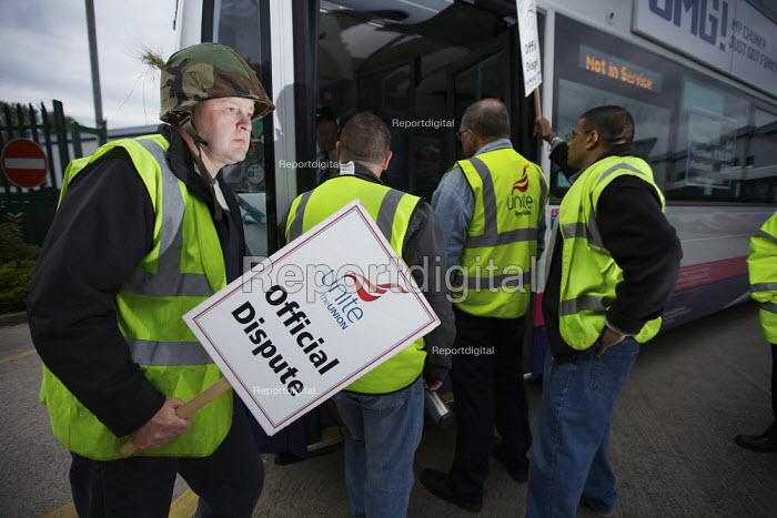 Bus drivers on a picket line in Bolton hoping to prevent management running school services. 800 striking drivers at three Greater Manchester depots claim that First Bus are imposing a pay freeze despite making �134million profits last year. - Christopher Thomond - 2009-09-14