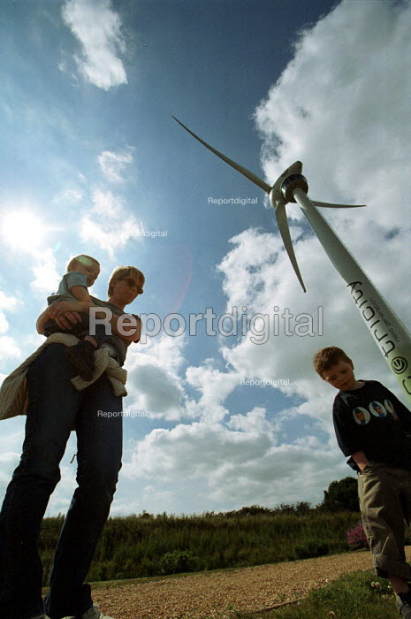 Family in front of electricity generating Wind turbine Ecotech Swaffham Norfolk - Duncan Phillips - 2002-10-09